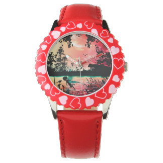 Cute fairies and birds flying in the sunset wristwatches