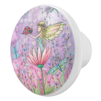 Cute Fairy and Butterfly Illustration Ceramic Knob