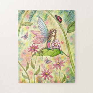 Cute Fairy and Ladybug Fantasy Art Jigsaw Puzzle