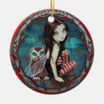 Cute Fairy and Owl Fantasy Art Double-Sided Ceramic Round Christmas Ornament