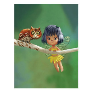 Cute Fairy And Owl Postcard