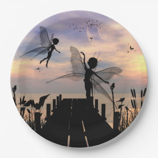 Cute fairy dancing on a jetty 9 inch paper plate