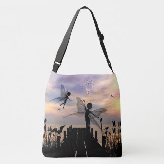 Cute fairy dancing on a jetty crossbody bag