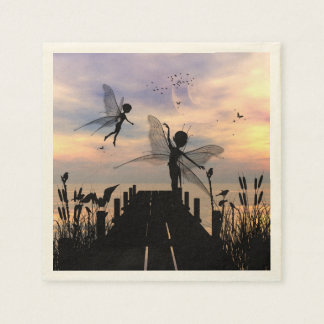 Cute fairy dancing on a jetty disposable napkins