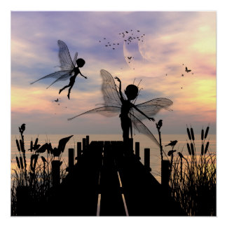 Cute fairy dancing on a jetty perfect poster