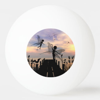 Cute fairy dancing on a jetty ping pong ball