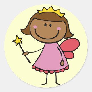 Cute Fairy in a Pink Dress Classic Round Sticker
