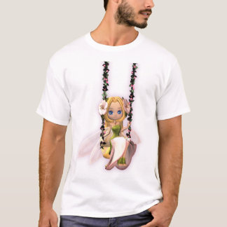 cute fairy on flower swing, magical tshirt