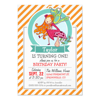 Cute Fairy on Mushroom; Orange & White Stripes 5x7 Paper Invitation Card