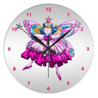 Cute Fairy on Silver Clock