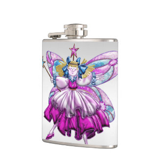 Cute Fairy on Silver Flask