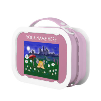 """Cute Fairy"" pink girls kids customise Lunch Boxes"