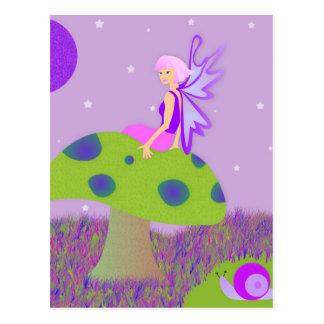 Cute Fairy Princess on Mushroom w/ Snail - Purple Postcard