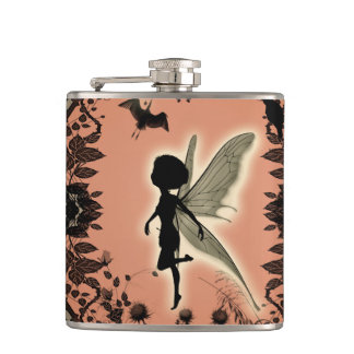 Cute fairy silhouette with glowing shine, flask