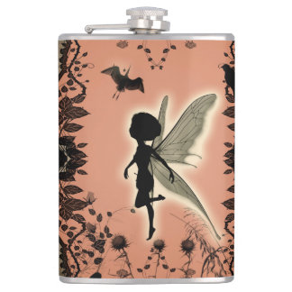 Cute fairy silhouette with glowing shine, hip flask
