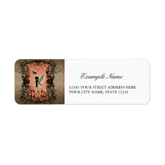 Cute fairy silhouette with glowing shine, return address label