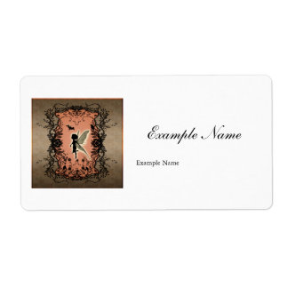 Cute fairy silhouette with glowing shine shipping label