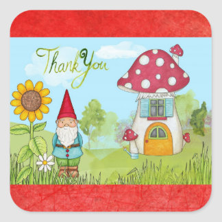 Cute Fairy Tale Elf Gnome Thank You Stickers