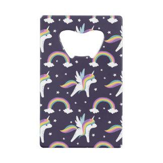 Cute Fairy Unicorn + rainbows blue background Credit Card Bottle Opener