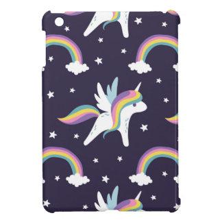 Cute Fairy Unicorn + rainbows blue background iPad Mini Covers