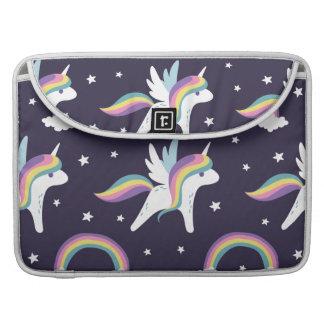 Cute Fairy Unicorn + rainbows blue background MacBook Pro Sleeve