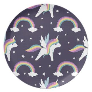 Cute Fairy Unicorn + rainbows blue background Party Plates