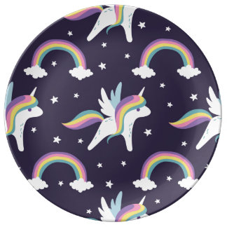 Cute Fairy Unicorn + rainbows blue background Plate