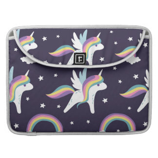 Cute Fairy Unicorn + rainbows blue background Sleeve For MacBook Pro