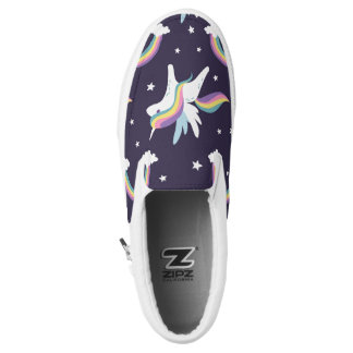 Cute Fairy Unicorn + rainbows blue background Slip-On Sneakers
