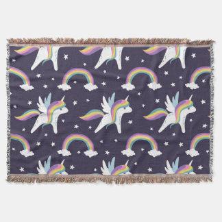 Cute Fairy Unicorn + rainbows blue background Throw Blanket