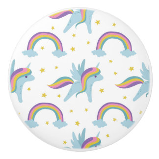 Cute Fairy Unicorn + rainbows white background Ceramic Knob
