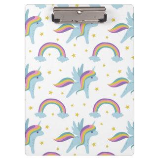 Cute Fairy Unicorn + rainbows white background Clipboard