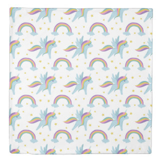 Cute Fairy Unicorn + rainbows white background Duvet Cover