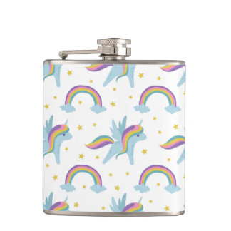 Cute Fairy Unicorn + rainbows white background Hip Flask