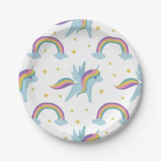 Cute Fairy Unicorn + rainbows white background Paper Plate