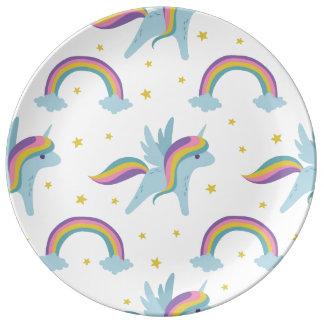 Cute Fairy Unicorn + rainbows white background Plate