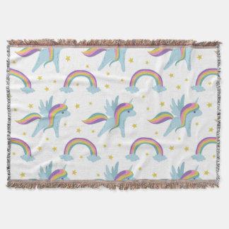 Cute Fairy Unicorn + rainbows white background Throw Blanket