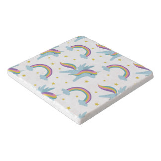 Cute Fairy Unicorn + rainbows white background Trivet