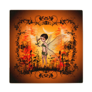 Cute fairy with little dragon maple wood coaster
