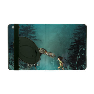 Cute fairy with steam dragon in a fantasy forest cover for iPad