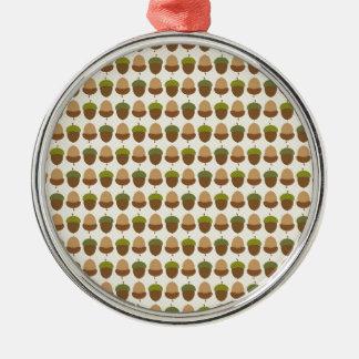 Cute Fall Autumn Acorn Nut Pattern Silver-Colored Round Ornament