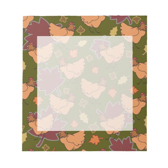 Cute Fall Chicken Pattern Notepad
