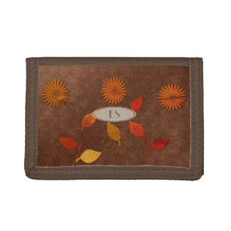 Cute Fall Floral Leaf Collage Style Brown Wallet