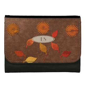 Cute Fall Floral Leaf Collage Style Wallet