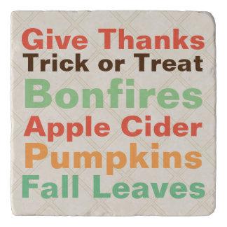 Cute Fall Harvest Words Trivet