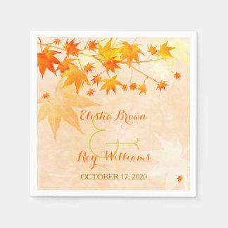 Cute Fall Maple Tree Wedding Disposable Napkins