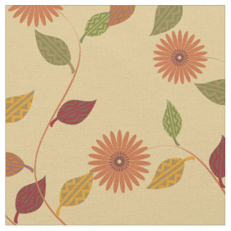 Cute Fall Orange Green Red Yellow Floral Pattern Fabric