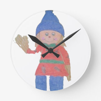 Cute Fall Scarecrow Round Clock