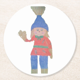 Cute Fall Scarecrow Round Paper Coaster
