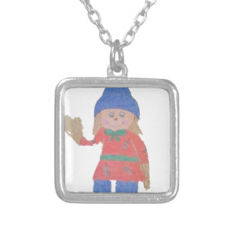 Cute Fall Scarecrow Silver Plated Necklace